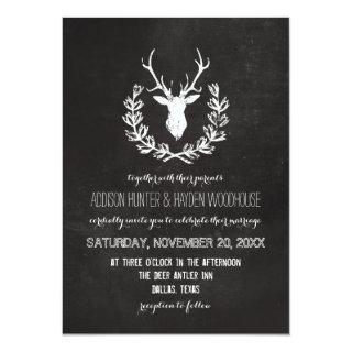 Deer Antlers Rustic Chalkboard Wedding Invitations