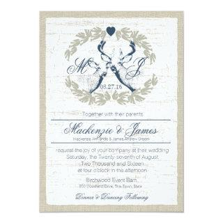 Deer in Wreath with Monogram Navy Blue Invitations