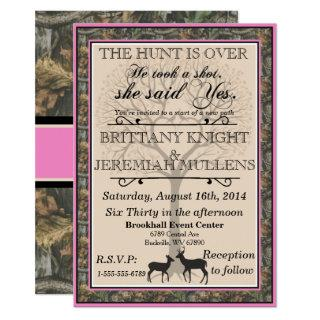 Deer Pink and Camouflage Wedding Invitations