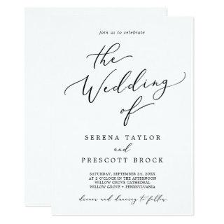Delicate Black Calligraphy All In One Wedding Invitation