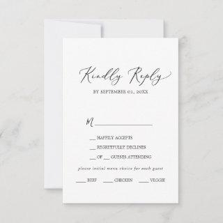 Delicate Black Calligraphy Menu Choice RSVP Card
