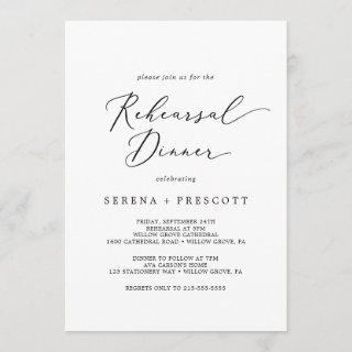 Delicate Black Calligraphy Rehearsal Dinner Invitations
