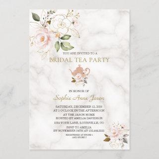 Delicate Blush Gold Floral Bridal Shower Tea Party Invitation