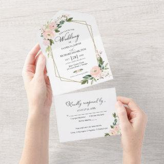 Delicate Blush Pink Floral Geometric Wedding All In One Invitations
