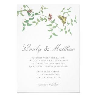 Delicate Botanical Butterfly Wedding Vintage Invitations