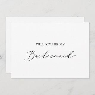 Delicate Calligraphy Bridesmaid Proposal Card