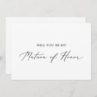 Delicate Calligraphy Matron of Honor Proposal Card