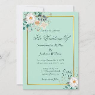 Delicate Floral and Gold Border Invitations
