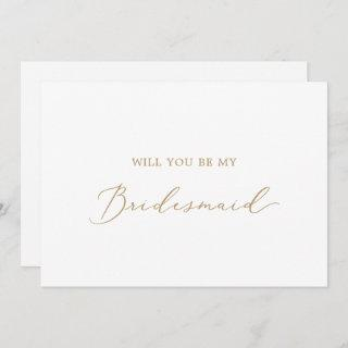 Delicate Gold Calligraphy Bridesmaid Proposal Card