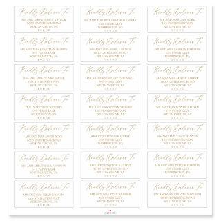 Delicate Gold Calligraphy Guest Address Labels