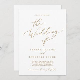 Delicate Gold Calligraphy The Wedding Of Invitations