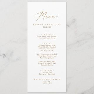 Delicate Gold Calligraphy Wedding Dinner Menu