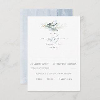 Delicate Greenery and Dusty Blue Wedding RSVP