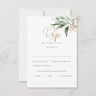 Delicate Greenery and Gold Leaves Wedding RSVP
