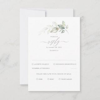 Delicate Greenery and Gold Wedding RSVP