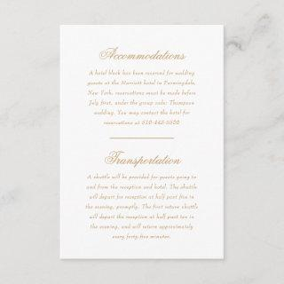 Delicate Ivory and Gold Script Wedding Direction Enclosure Card