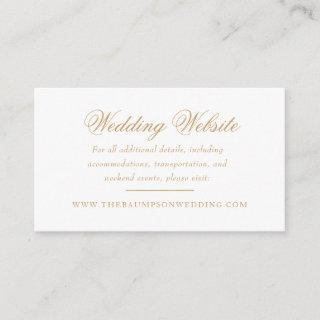 Delicate Ivory and Gold Script Wedding Website Enclosure Card