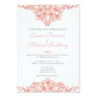 Delicate lace border Wedding Invitations 5x7