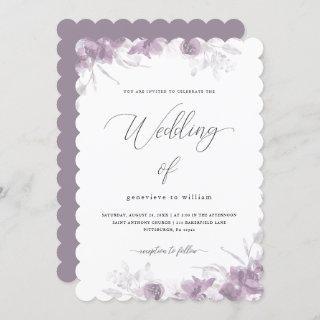 Delicate Purple Floral with Calligraphy Wedding Invitations