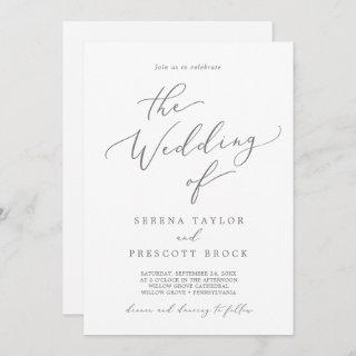 Delicate Silver Calligraphy All In One Wedding Invitation