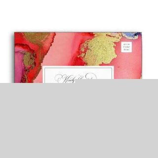 Deluxe Abstract Purple Red and Gold Wedding Envelope