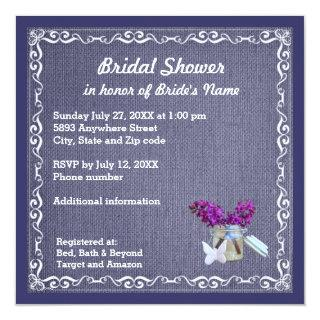 Denim Blue Burlap, Purple Flower, Jar Bride Shower Invitation
