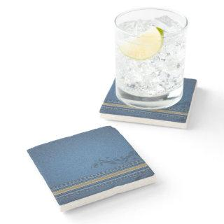 Denim Blue Textured Pattern Stone Coaster