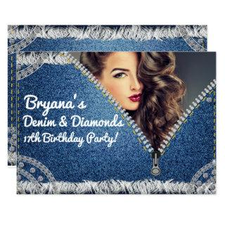 Denim & Diamonds Jean Zipper Party Photo Invitations