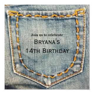 Denim Jean Stitched Pocket Birthday Party Invitations