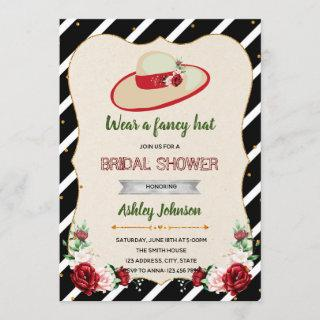 Derby big hat theme bridal shower invitation