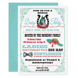 Derby Horse Racing Bridal Shower Party Invitations