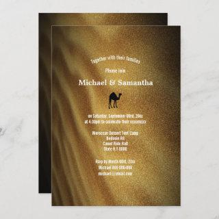 Desert dune weekend away camel ride wedding invitation