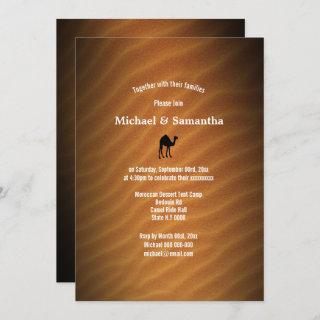 Desert sand red camel silhouette black wedding Invitations