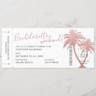 Destination Bachelorette Party Palm Boarding Pass Invitation