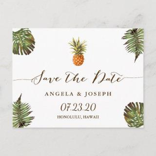 Destination Save the Date | Tropical Pineapple Announcement Postcard