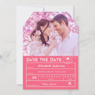 Destination Wedding Fuchsia Pink Luggage Tag Photo Save The Date