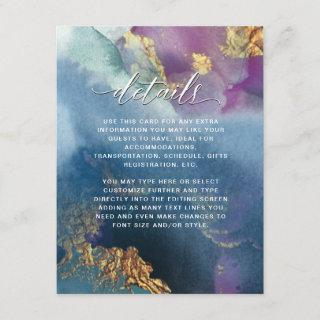 Details, Purple, Teal and Blue Full Watercolor Enclosure Card