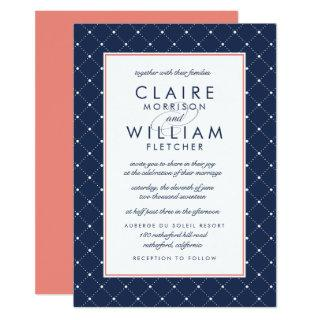 Diamond Dot Wedding Invitations | Coral and Navy