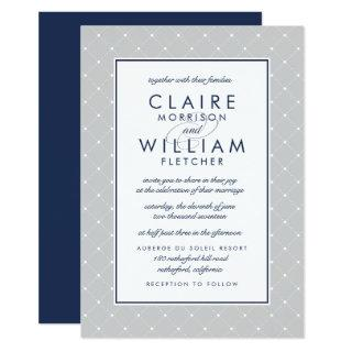 Diamond Dot Wedding Invitations | Gray and Navy