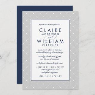 Diamond Dot Wedding Invitation | Gray and Navy
