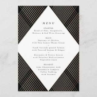 Diamond Geometric Black Gold Gatsby Wedding Menu