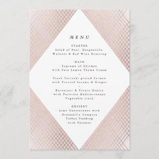 Diamond Geometric Pink Gold Gatsby Wedding Menu