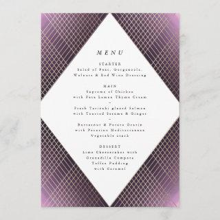Diamond Geometric Purple Gold Gatsby Wedding Menu