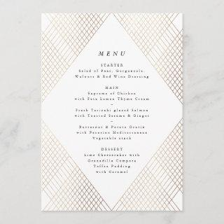 Diamond Geometric White Gold Gatsby Wedding Menu