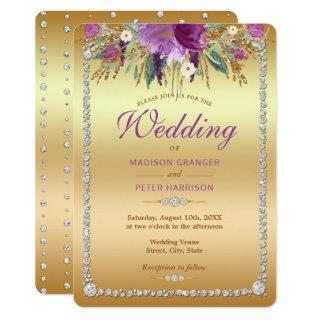 Diamond Glitter Watercolor Flowers Wedding Invitation