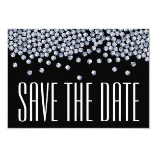 Diamond Glitter Wedding Save the Date Announment Invitations