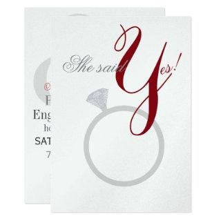 Diamond Ring She Said Yes Silver & Burgundy Party Invitations