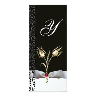 DIAMOND TULIPS ,Pink Black White Damask Monogram Invitations