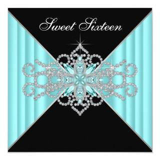 Diamond Turquoise Blue and Black Sweet 16 Birthday Invitation