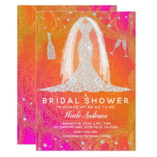 Diamond Wedding Dress Indian Bright Bridal Shower Invitations
